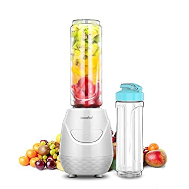 Comfee 250W Personal Blender with 2 x 20 Oz BPA Free Tritan Sport Bottle and 2 BPA Free Travel Lid. Mini Portable Smoothie maker for smoothies, Shakes, Baby Food, Healthy Drinks (White)
