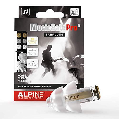 Alpine MusicSafe Pro Gehörschutz Ohrstöpsel für Musiker - Werte dein Musikerlebnis auf ohne Hörschäden zu riskieren - Drei austauschbare Filterstufen - Hypoallergenes & Wiederverwendbar - Transparent