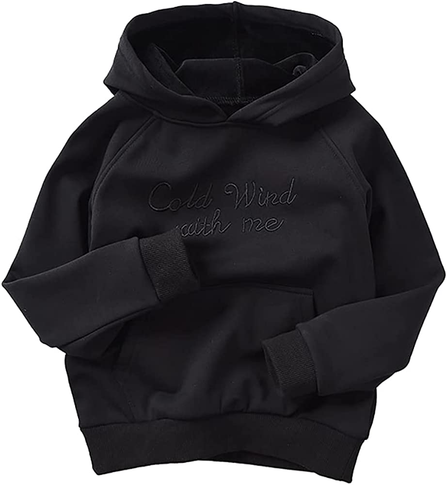 Abalacoco Boy's Cotton Fleece Winter Thermal Pullover Sweater Crew Neck Cotton Casual Hood Shirt 5-10T (Black, 6-7 Years)