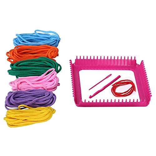 funwill 7' Craft Loop Weave Loom Toy Yarn Craft Set Deluxe Loom Kit, Makes 5 Potholders