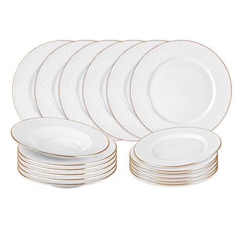 KASANOVA Servizio piatti 6 persone Diadem Oro - Set piatti in porcellana New Bone China bianca con decori in rilievo e profili dorati - Servizio piatti 18 Pezzi