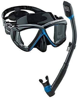 Cressi Panoramic Wide View Mask Dry Snorkel Set (Black Blue)