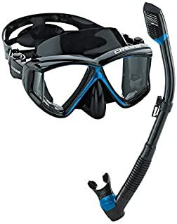 Cressi Panoramic Wide View Mask & Dry Snorkel Kit for Snorkeling, Scuba Diving - Pano 4 & Supernova Dry: designed in Italy