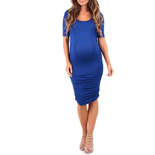 Women#039s Ruched Maternity Dress by Rags and Couture  Made in USA Royal Blue Medium