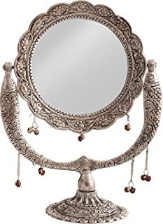 JaipurCrafts Aluminum Wall Mirror (Silver_5.1 X 21 X 29 Cm)