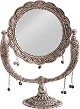 JaipurCrafts Antique Mirror for Vanity| Make Up| Mirror for Wall| Mirror for Home Decor| Antique Designer Mirror- 12 in (Silver, Aluminium)