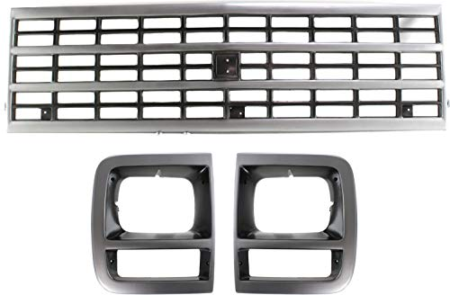 Auto Body Repair Compatible with 1992-1995 Chevrolet G10 / G20 with Grille Assembly and Headlight Door Set of 3