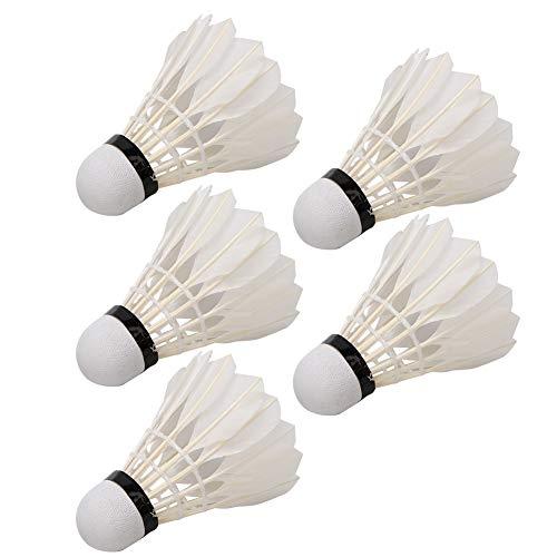 Longzhuo Pelota de bádminton, 5 Volantes de Bolas de bádminton de Plumas duraderas para Entrenamiento en Interiores al Aire Libre