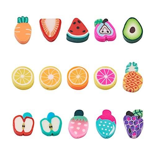 PandaHall 225 cuentas hechas a mano de arcilla de polímero de frutas y vegetales coloridas Zanahoria, uva, naranja, fresa, limón, espaciador, cuentas sueltas para hacer pulseras y collares