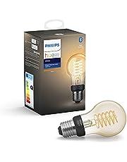 Philips Hue Filament Lamp 1-Pack - E27 - Vintage Globevorm A60 - Duurzame LED Verlichting - Warmwit Licht - Dimbaar - Verbind met Bluetooth of Hue Bridge - Werkt met Alexa en Google Home