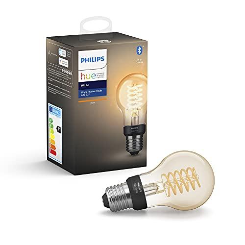 Philips Hue White Filament E27 LED Lampe, dimmbar, warmweißes Licht, steuerbar via App, kompatibel mit Amazon Alexa (Echo, Echo Dot)