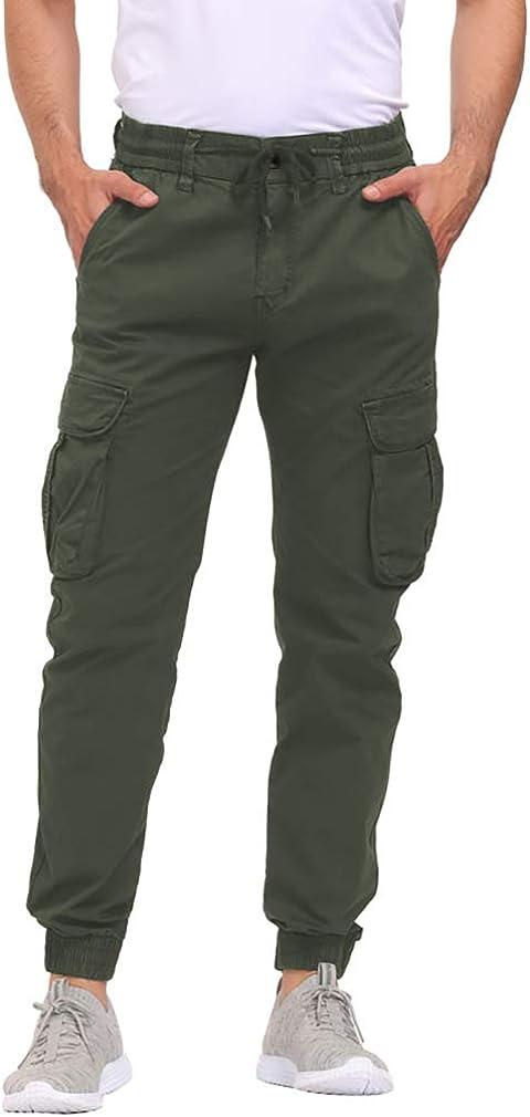 DOBOLY Men's Cargo Pants Zipper Pockets Athletic Pants Elastic Waist Casual Jogger Pants