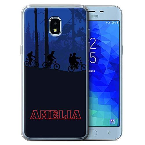 Personalized Custom Phone Case for Samsung Galaxy J3 2018/J337 Custom Strange Retro Forest Bike Ride Design Transparent Clear Ultra Soft Flexi Silicone Gel/TPU Bumper Cover