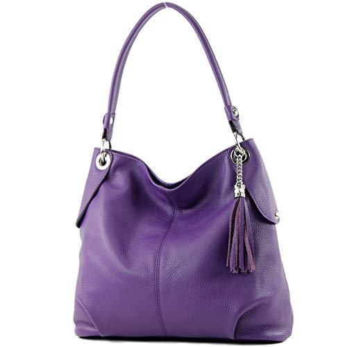 modamoda de - T185 - ital. Damen Schultertasche aus Leder, Farbe:Purple