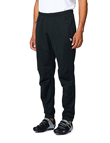 BALEAF Men's Thermal Biking Pants Running Mountain Bike Pants with Zipper Pockets Windproof Winter Bicycle Black XXXL