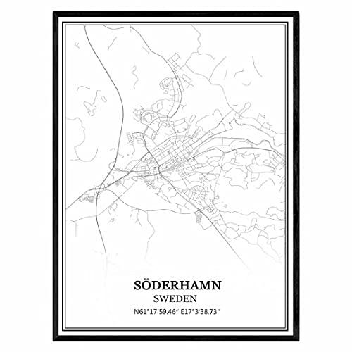 Söderhamn Suecia Mapa de pared arte lienzo impresión cartel obra