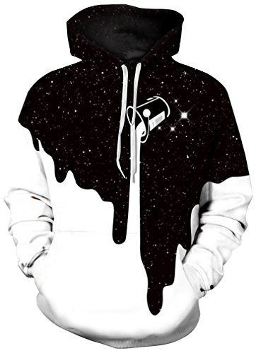 FLYCHEN Men's Digital Print Sweatshirts Hooded Top Galaxy Pattern HoodieFashion Black White SM