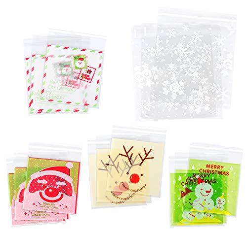 Agoer 300 Stück Selbstklebend OPP Tütchen Weihnachten Tüten - 5 Muster Süßigkeiten Taschen Geschenktüte für Plätzchen Gebäck Süßigkeien Schoolade (10 * 10+3cm, 14 * 14CM + 3cm)