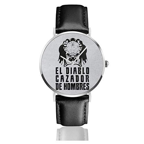 Predator El Diablo Cazador Des Hombres Reloj de Cuarzo de Cuero con Correa de Cuero Negro para Hombres y Mujeres, colección Joven Regalo