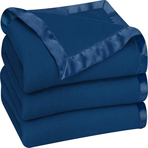 Utopia Bedding Fleece Blanket Queen Size Navy Soft Cozy Sateen Bed Blanket Microfiber