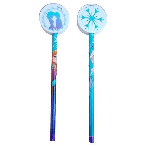 MC SRL Pencil Bleistifte Frozen ELSA Anna Disney 2 Stück mit 3D-cm Rubber. 20 H - JK2123