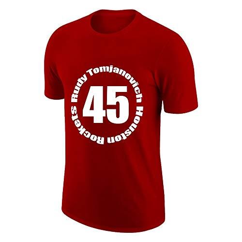HYYYH Chaleco Exterior de algodón Unisex Camiseta Divertida Rudy Tomjanovich # 45 Camisetas de Entrenamiento para Aficionados al Baloncesto (Color : Red, Size : XXXL)