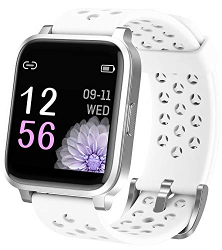 Smartwatch Fitnessuhr Pulsmesser Damen Herren Fitness Armbanduhr Bluetooth Schritt Kalorie Anruf SMS Benachricht Wasserdicht IOS Android Uhr Sport