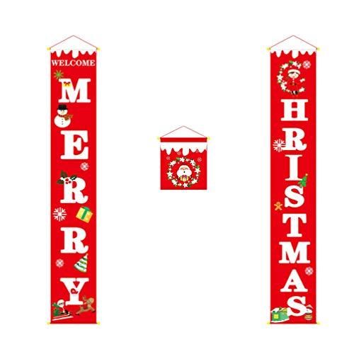 Amosfun Vrolijke Kerstmis Porch Banners Sneeuwmannen Kerstmis Veranda Achtergrond Xmas Hangende Banner Voordeur Gordijn Decoratie voor Huis Deur Vakantie Feestdecoraties