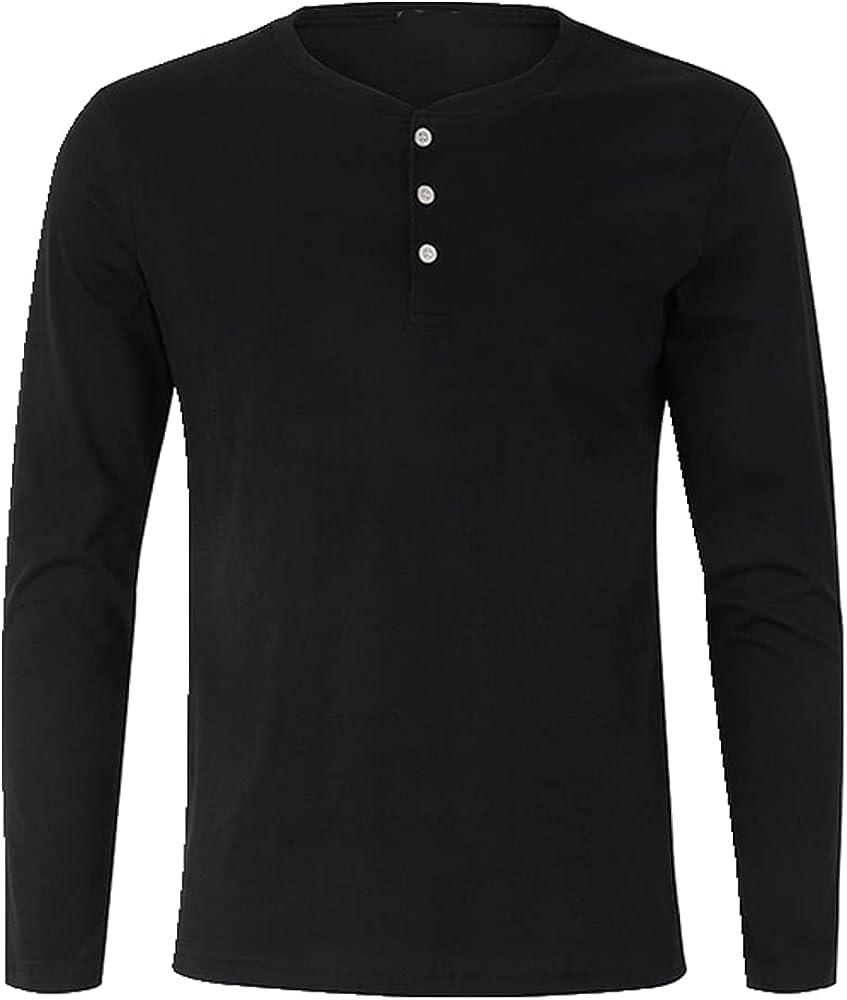 NP Clothing Men T-Shirt Long Sleeve Basic Tee Spring Henley Shirt
