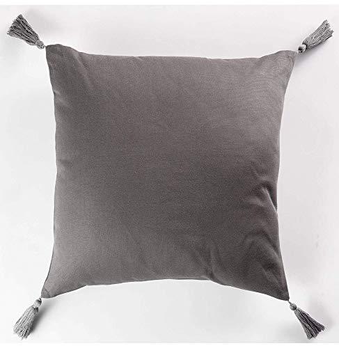 CDaffaires Coussin passepoil +pompons 40 x 40 cm coton uni popsys Anthracite