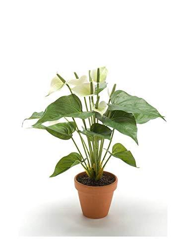 artplants.de Künstliche Anthurie Damien im Tontopf, weiß, 35cm - Flamingoblume Künstlich