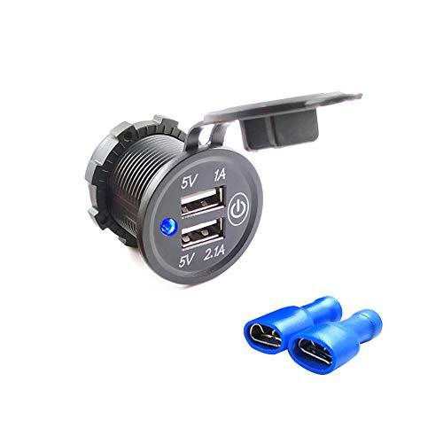 ihreesy Enchufe USB Impermeable para Motocicleta Toma de Corriente de 3,1 A con Interruptor Táctil de Encendido/Apagado,Adaptador de Corriente Universal para Coche DC12V-24V Motocicleta,Con Terminal