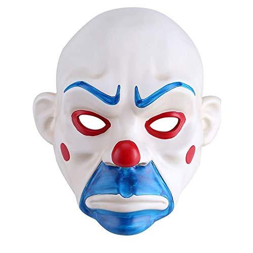 NBCDY Mscara de Payaso, Fiesta de Cosplay de Joker de pelcula, Payaso de mscara de Resina de ladrn de Joker Bank, para Disfraz de Fiesta Accesorio de Halloween Hombres Blancos Mujeres Adultos