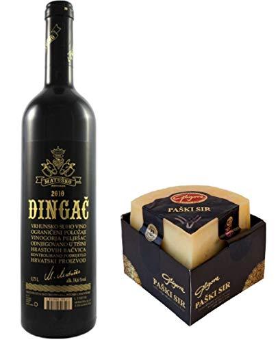 DINGAC & PASKI SIR - Premium Schafskäse 325g und Premium Rotwein. Kroatischer Wein und Käse