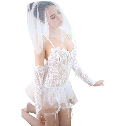 Yiyu Frauen Sexy Dessous Braut Porno Hochzeitskleid Kostüme Rollenspiel Heiße Sexy Unterwäsche Schöne Weibliche Weiße Spitze Kostüm x (Color : White)