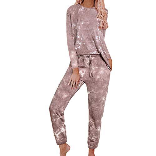 Damen Pyjama mit Batikmuster, mit Kapuze, zweiteilig, lange Ärmel, Hose, lässiges...