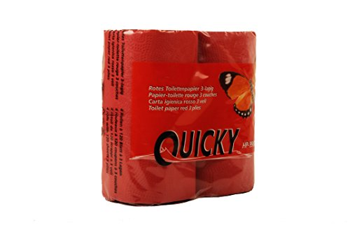 Quicky Toilettenpapier, 120 Blatt, 3-lagig, rot mit schwarzen Kern, 4er Pack (4 x 4 Stück)