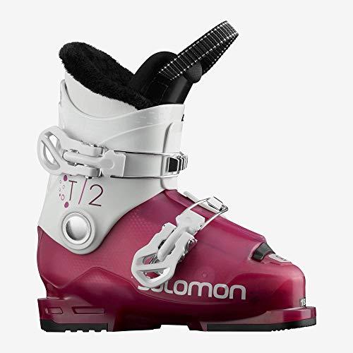 Salomon T2 RT Ski Boots Girl's Sz 13K (20) Rose Violet Translucent/White