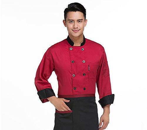 Kaschine jas voor koken, lange mouwen, restaurant, pizzeria zwart rood koffie M-3XL katoen geen afval XXXL Rood