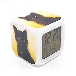 BoFy Led Alarm Clock Black Cat Kitty Pattern Personality Creative Noiseless Multi-Functional Electronic Desk Table Digital Alarm Clock for Unisex Adults Kids Toy Gift