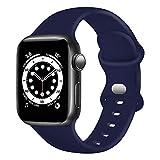TopPerfekt Correa de Silicona Compatible con Apple Watch Correa de 38 40 42 44 mm, Correas de Repuesto de Silicona para iWatch Series 6 5 4 3 2 1 SE (42/44mm-M/L, Azul Oscuro)