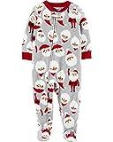 Carter's Boys' One Piece Christmas Fleece Pajamas (4T, Heather/Red Santa)