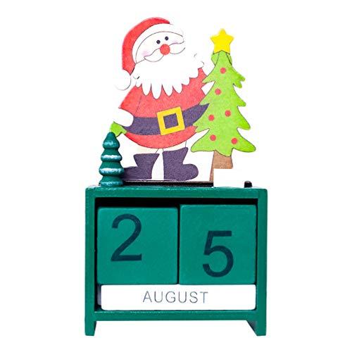 NUOBESTY Countdown Adventskalender Blöcke Tage Holz Rentier Onament Urlaub Weihnachten Tischdekoration Rot 17x9x4.5cm grün