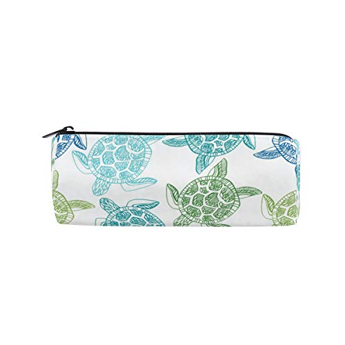 ZZAEO Sea Blue Turtles Pencil Pen Case Holder Large Capacity Stationery Pencil Pouch Bag School Organizer Storage Bag with Zipper Closure for School Students Girls Teens Kids