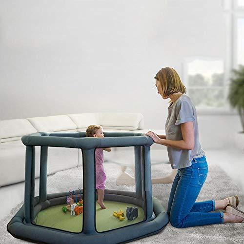 11 sq ft GrisCunas De Bebes con Malla Transpirable,6 Piezas Parque Cuna De Viaje para Niños, En Interiores O Al Aire Libre
