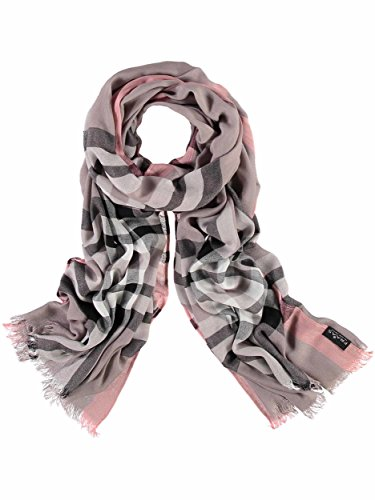 FRAAS XXL-Schal mit Karo-Muster für Damen - aus 100% Viskose - elegantes Mode-Accessoire passend zu jedem Fashion-Stil Taupe