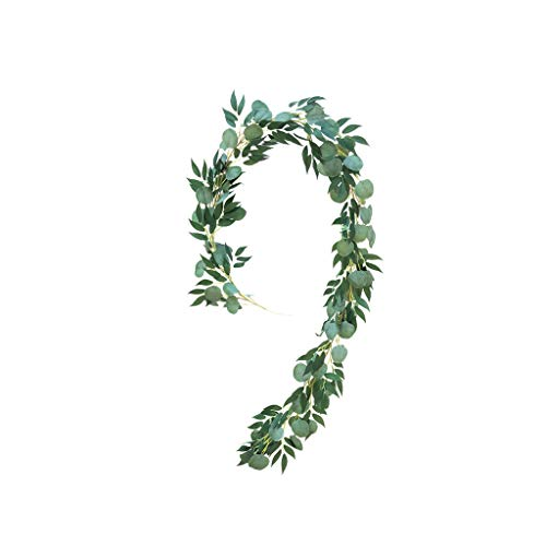 2M Artificial Leaves Vine - Silk Green Leaf Garland Fake Tropical Plant Strings, Lightweight Greenery Shrubs for Home Wedding Party Decorations Arrangement Indoors Outdoors