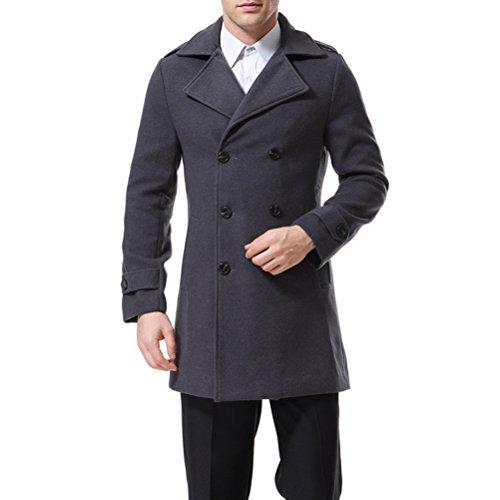 AOWOFS - Abrigo para hombre con doble botonadura gris S