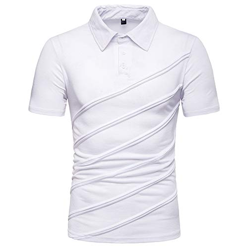 ZYYM Men's Business Polo Shirt Solid Color Lightweight Lapel T-Shirt Summer Fashion Casual Short Sleeve Sports T-Shirts Slim Fit Lapel Short Sleeve Blouse Tops Fashion Shirts Fitness Top