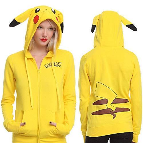 JKAINI Frauen Kapuzenpullover Cartoon Pikachu Printed Pullover Hoodies Langarm Sweatshirts Yellow-M